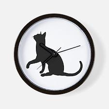 Black Cat Silhouette Wall Clock