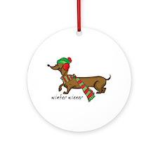 Winter Wiener Ornament (Round)