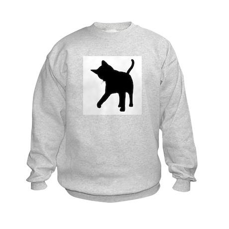 Black Kitten Silhouette Kids Sweatshirt