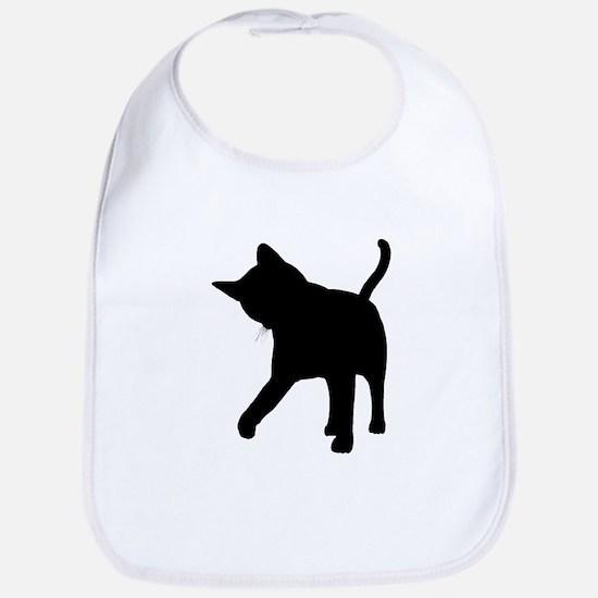 Black Kitten Silhouette Bib