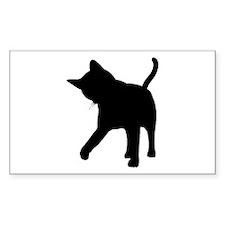 Black Kitten Silhouette Rectangle Decal