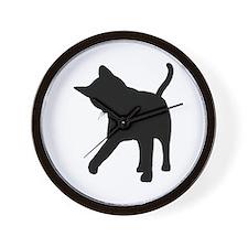 Black Kitten Silhouette Wall Clock