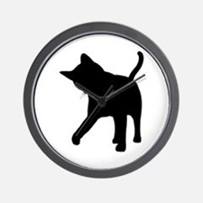 Black Kitten Silhouette Wall Clock