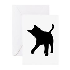 Black Kitten Silhouette Greeting Cards (Package of