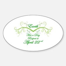 Respect Earth Day Oval Decal