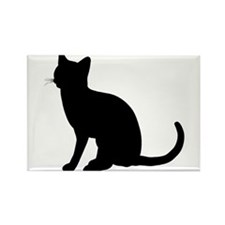 Black Cat Silhouette Rectangle Magnet