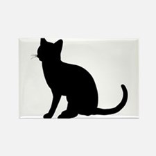 Black Cat Silhouette Rectangle Magnet