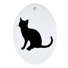 Black Cat Silhouette Oval Ornament