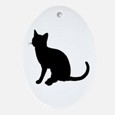 Black Cat Silhouette Oval Ornament