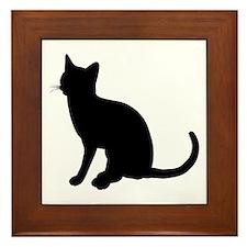 Black Cat Silhouette Framed Tile