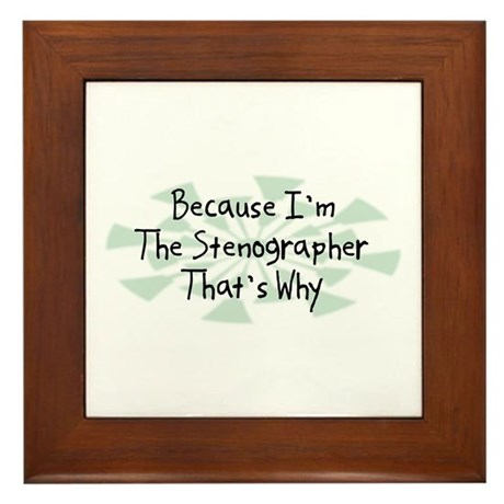 Because Stenographer Framed Tile