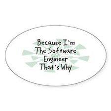 Because Software Engineer Oval Decal