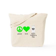 peace love green beer Tote Bag