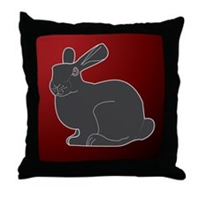 Crimson Death Bunny Throw Pillow