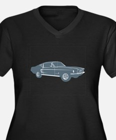1967 Ford Mustang Fastback Women's Plus Size V-Nec
