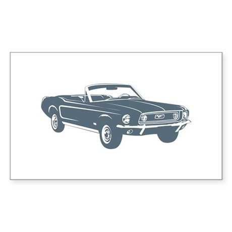 1967 Ford Mustang Convertible Rectangle Sticker