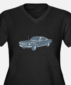 1966 Ford Mustang Fastback Women's Plus Size V-Nec