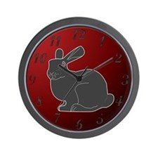 Crimson Death Bunny (w/numbers) Wall Clock