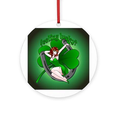 St. Patrick's Lucky Ornament Round Irish Pin Up
