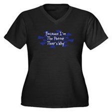 Because Potter Women's Plus Size V-Neck Dark T-Shi