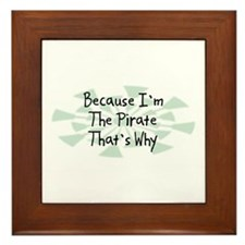 Because Pirate Framed Tile