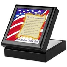 Ten Commandments on American Flag Keepsake Box