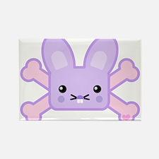 Kawaii Bunny and Crossbones Rectangle Magnet