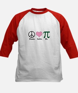 Peace. Love. Pi. Kids Baseball Jersey