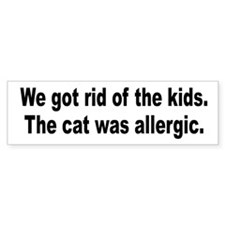 Cat Allergy Kid Humor Bumper Car Sticker