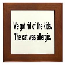 Cat Allergy Kid Humor Framed Tile