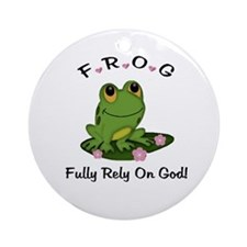 FROG Fully Rely On God Ornament (Round)