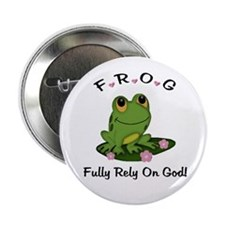 "FROG Fully Rely On God 2.25"" Button (10 pack)"