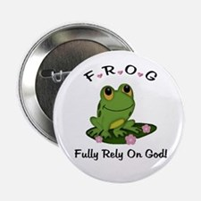"""FROG Fully Rely On God 2.25"""" Button (10 pack)"""