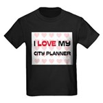 I Love My City Planner Kids Dark T-Shirt