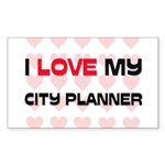 I Love My City Planner Rectangle Sticker