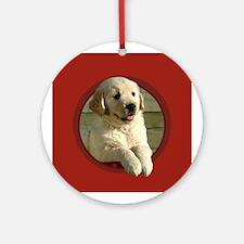 Golden Retriever Puppy Round Red Ornament