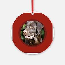 Chocolate Labrador Retriever Round Red Ornament