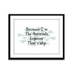 Because Materials Engineer Framed Panel Print