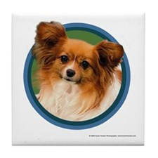 Papillon Art (Blue) Tile Coaster