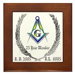 Masonic 25 Year Member Framed Tile
