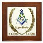 Masonic 50 Year Member Framed Tile