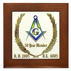 Masonic 50 Year Member Framed Tile
