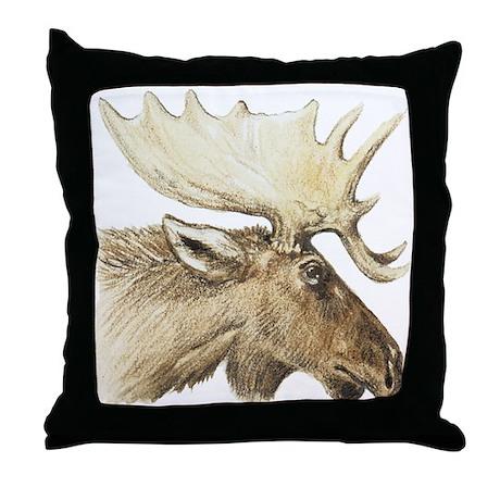 moose drawing Throw Pillow