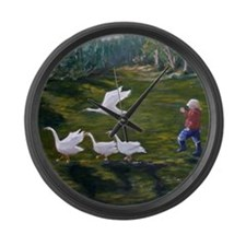 Chasing Geese Large Wall Clock