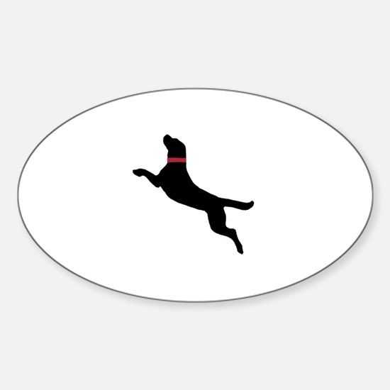 Black Dock Jumping Dog Oval Decal
