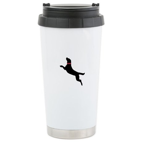 Black Dock Jumping Dog Stainless Steel Travel Mug