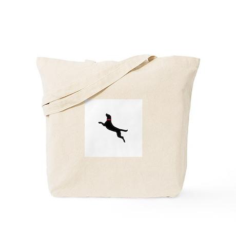 Black Dock Jumping Dog Tote Bag