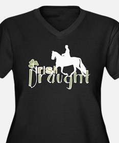 Irish Draught Horse Women's Plus Size V-Neck Dark