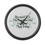 Because Fountain Pen Collector Large Wall Clock