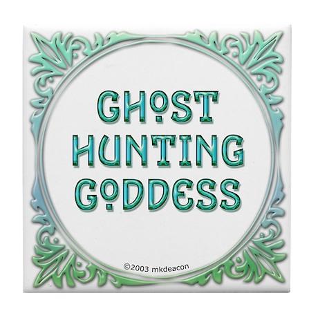 Ghost Hunting Goddess Tile Coaster
